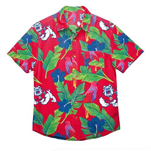 NCAA Fresno State Bulldogs Foco Floral Button Up Shirt, Team Color, Small