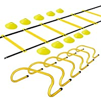 TNZMART Sports Speed Agility Training Set Agility Ladder Hurdles Set Equipped with 10 Disc Cones from TNZMART