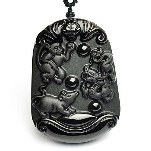 xtszlfj Obsidiana Tallada a Mano Rata Vaca Tigre Conejo Dragón Chino Serpiente Caballo Oveja Mono Pollo Perro Cerdo Animal Amuleto Collar Colgante