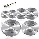 7pc HSS corte circular de madera de sierra Discos de lámina para Rotary Tool Mandril, Cuchillas discos de corte by AniSqui