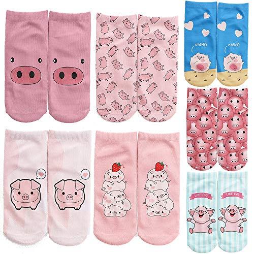 Unisex-Socken mit niedlichem Cartoon-Schweinchen-Design, niedrig geschnitten - Pink - Einheitsgröße