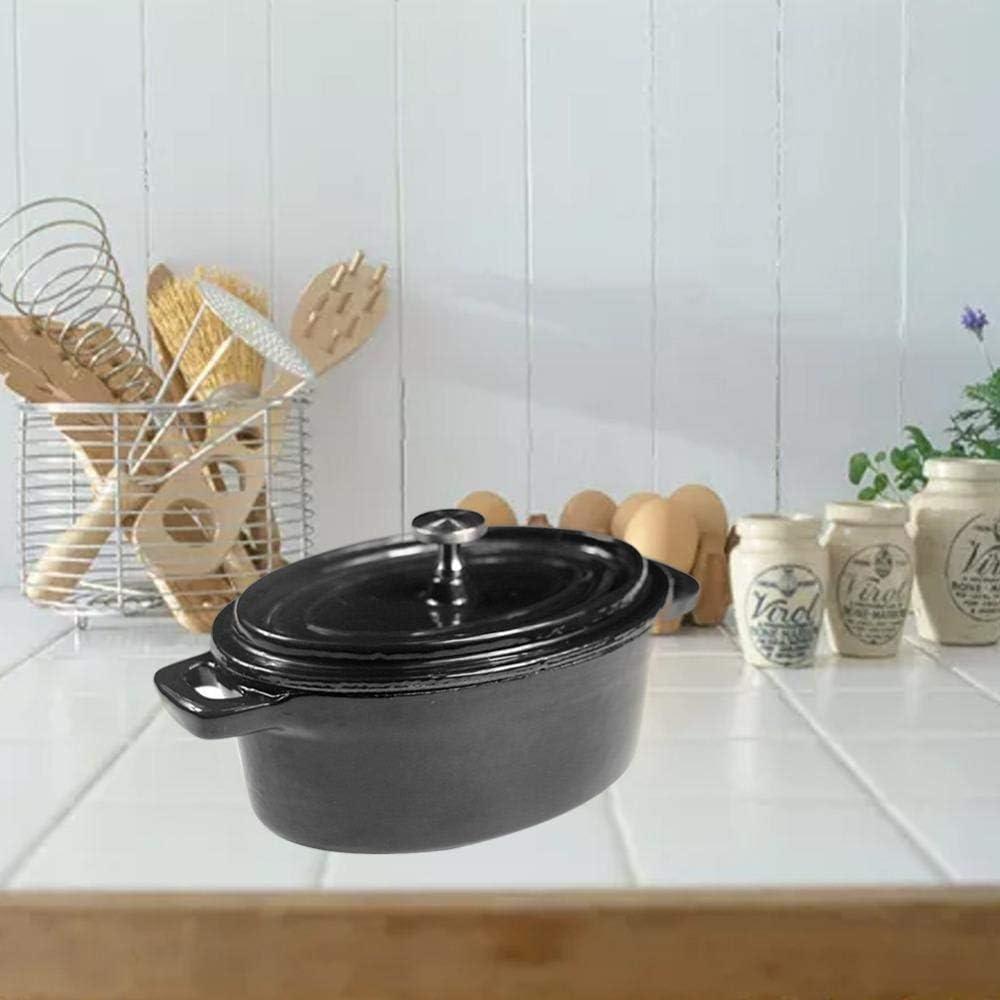 CYQ Dutch Ovens Mini-Pot Ovale Couvert en Fonte émaillée - Noir Black