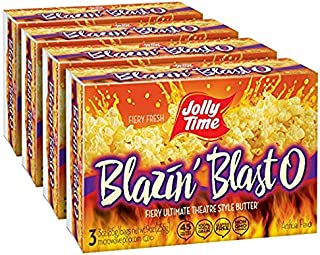 JOLLY TIME Blazin' Blast O Butter | Spicy Hot Gourmet Movie Theater Buttery Microwave Popcorn with Fiery Chili Pepper Seasoning Kick (3-Count Boxes, Pack of 4)