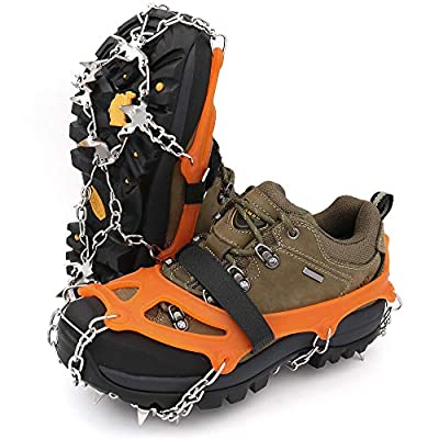 Leanking Ice Snow Grips, Traction Cleats Ice Cleats with 18 Spikes for Walking, Jogging, Climbing and Hiking on Snow, Ice, Mud, Sand and Wet Grass (Orange, L)