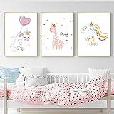 Unicornio globo niña niña decoración de la habitación fotos Nube mágica cartel nórdico vivero arte de la pared pintura de la lona Cuadros Deer sin marco