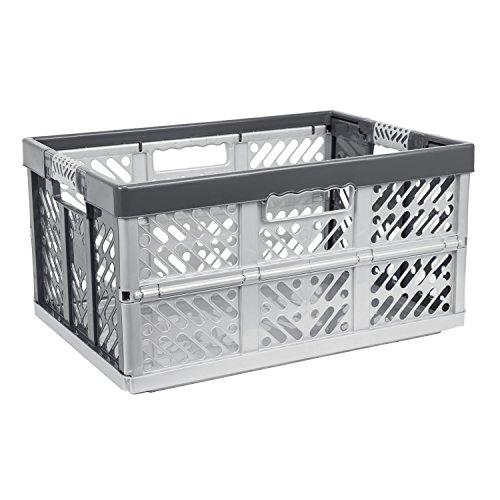 45 Liter Profi Klappbox Kunststoff Box Klappkiste Einkaufskorb Faltbox silber