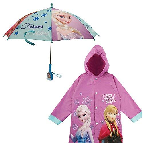 Disney Girls' Little Assorted Characters Slicker and Umbrella Rainwear Set, Dark Purple Frozen, Age 6-7