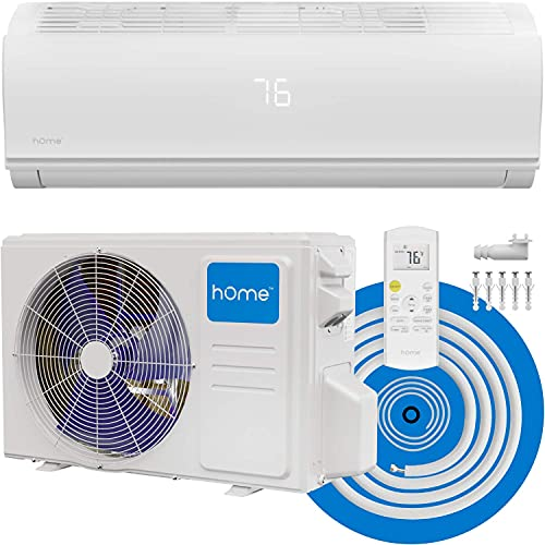 hOmeLabs Split Type Inverter Air Conditioner with Heat Function — 12,000 BTU 115V — Low Noise, Multimode Air Conditioning with a Washable Filter, Stealth LED Display, and Backlit Remote Control