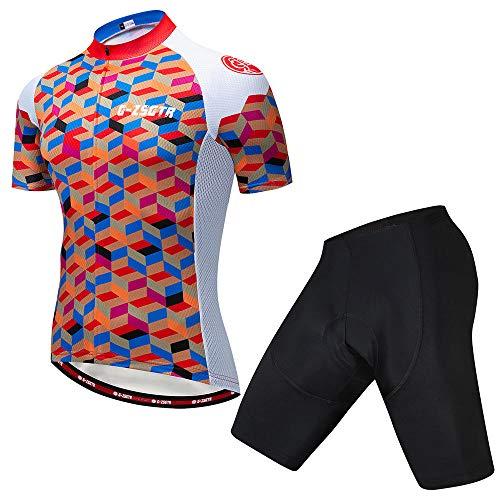 HXTSWGS Ropa de Ciclismo para Hombres, Ropa de Ciclismo de Verano Ropa de Bicicleta Transpirable/Conjuntos de Maillot de Ciclismo de Manga Corta-C_S