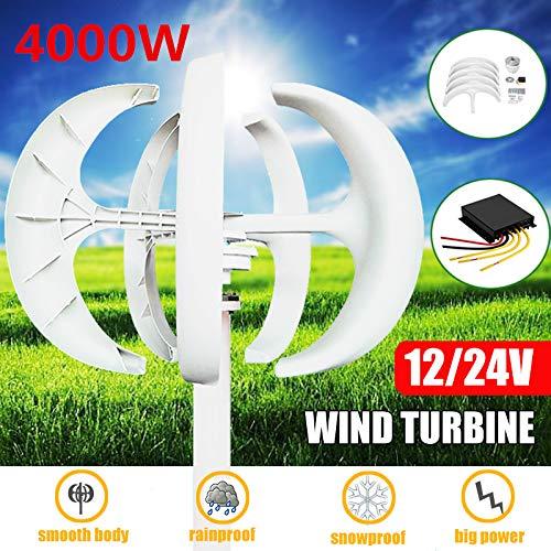 TQ Windkraftanlagen, 4000W White Wind Turbines Generator + Steuerung 12V24V 5 Blades Laterne Vertikale Die Achsen für Wohn Haushalt Straßenbeleuchtung,12v
