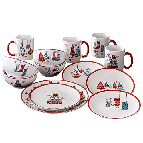 American Atelier Holiday Christmas Round Dinnerware Set – 16-Piece Stoneware Party Collection w/ 4 Dinner Salad Plates, 4 Bowls & 4 Mugs – Unique Gift Idea, 10.5', White/Red
