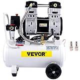 VEVOR Compressori d'Aria da 1,5HP/1100W Compressore Motore Senza Olio con Serbatoio 30L, Velocità di Rotazione 1440 RPM Compressore Silenzioso per il Gonfiaggio dei Pneumatici, la Pulizia dei Veicoli