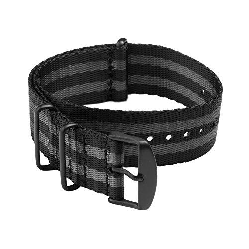 Archer Watch Straps - Correas NATO de Nylon como un Cinturón de Seguridad - Correa de Reloj Diseño Militar - Negro y Gris (James Bond)/Piezas Metálicas en Negro, 20mm