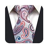 S&W SHLAX&WING Corbatas Hombre Corbata Hombre Plata Rosa Fucsia Paisley Extra Larga Corbata
