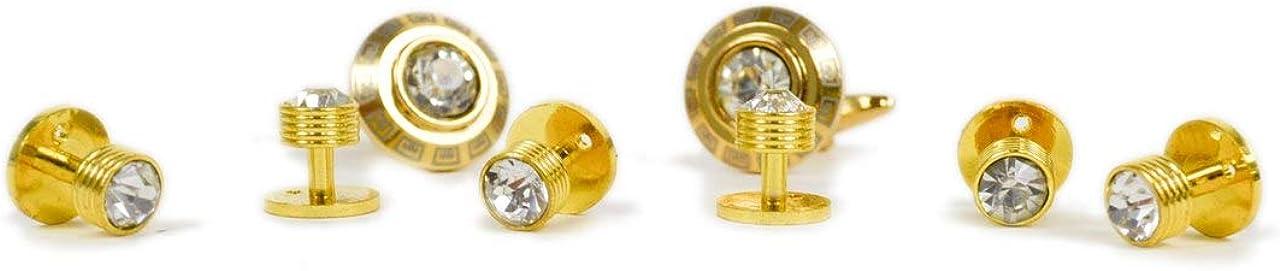 Laurant Bennet Gold Tone Rhinestone Cufflinks & 6 Stud Set
