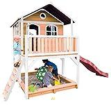 Beauty.Scouts Holzspielhaus Maine II 212x432x293cm Hemlock Holz braun-weiß Rutsche+Sandkasten Kinderspielhaus Spielhaus Holzhaus Gartenhaus Garten Kinderhaus Farbe rot