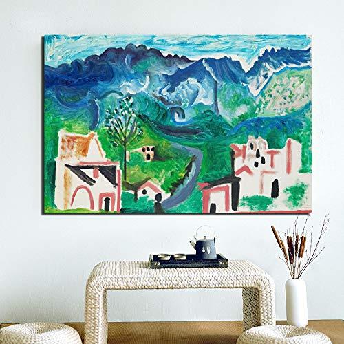 tzxdbh Pablo Picasso landschap canvas schilderij print woonkamer decoratie moderne muurkunst olieverfschilderij poster afbeelding frame With Frame 8 x 12 inch.