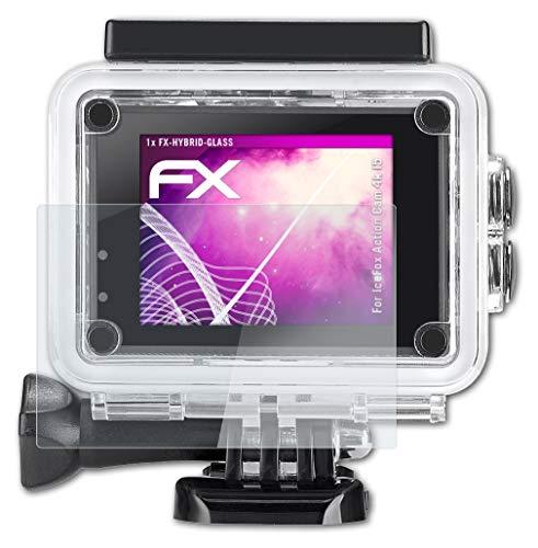 atFoliX Glasfolie kompatibel mit IceFox Action Cam 4k I5 Panzerfolie, 9H Hybrid-Glass FX Schutzpanzer Folie