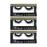 Milanté BEAUTY 3 Pair Pack Virtue Real Mink False Lashes Black Natural Thick Long Full Reusable Fake Strip Eyelashes