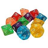 SODIAL 10 Pieces Des D10 De a 10 faces pour RPG Donjons & Dragons Jeux de table Board Transparent Multicolore