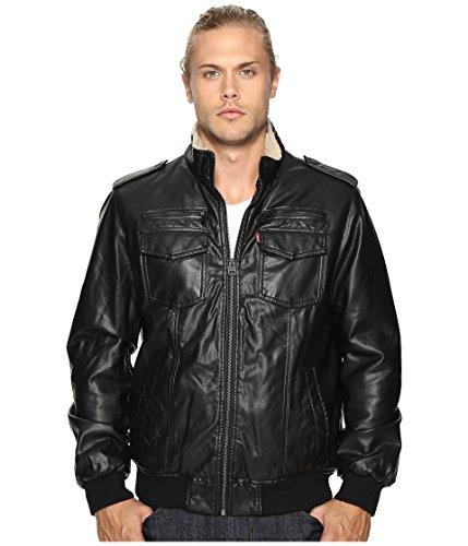 Levi's Faux Leather Sherpa Lined Aviator Bomber Jacket Chaqueta de Piel sintética, Negro (, XXXXXL para Hombre