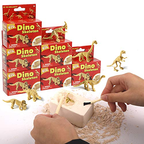 Dr. Daz Dinosaurier Skelett Ausgrabungsset Dino Spielzeug Figuren Skelett Dinosaurier Fossilien Ausgrabung Dinosaurier Figuren Klein Ab 7 8 9 10 Jahren 6 Stück