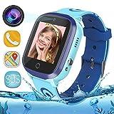 Bambini Smartwatch IP67 Impermeabile - WiFi + GPS + LBS Tracker Smart Watch con Contapassi Gao Fence Chiamata SOS Chat Vocale Camera Gioco per Ragazzi Ragazze Età 3-12 (Blu)