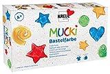 Kreul 24160 - Mucki Bastelfarbe, 6 x 80 ml in weiß, gelb, rot, blau, grün und schwarz, Kindermalfarbe auf Wasserbasis, parabenfrei, glutenfrei, laktosefrei, vegan, auswaschbar, mit Pinsel vermalbar