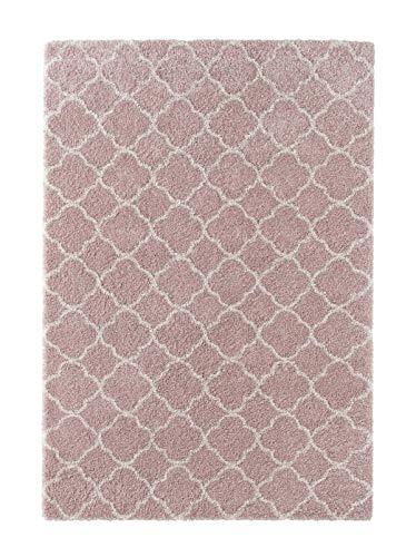 Mint Rugs Hochflor Teppich Luna Weich Flauschig Geometrisches Muster (120 x 170 cm, 100{c89f16b5ef9f2eb3a8e55a38a60dcd77cb5aaf860c5de5ebbcbdd722a78c5128} Polypropylen, Fußbodenheizung geeignet, robust), Rosa Creme