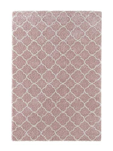 Mint Rugs Hochflor Teppich Luna Weich Flauschig Geometrisches Muster (120 x 170 cm, 100% Polypropylen, Fußbodenheizung geeignet, robust), Rosa Creme