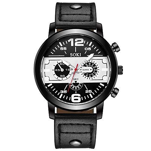 Obestseller Armbanduhren für Herren Stilvolle und einfache Herrenuhr Herren 40mm Groß Dial Uhr Band Hübsch Punk Steam Quarz Analog Armbanduhr