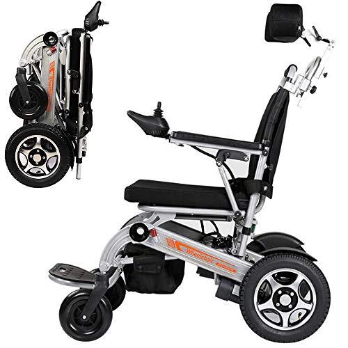 WMMY Ultraleichter Faltbarer Elektrischer Rollstuhl, Elektro-Rollstuhl mit Kopfstütze, für ältere und behinderte Menschen, Li-Ion Battery 24V 20Ah