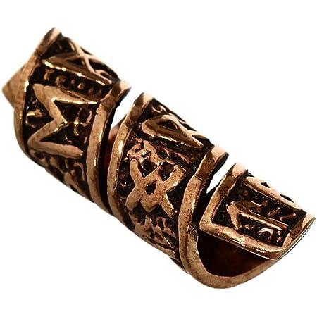 NKlaus Viking Barba Perla Ornamento per Capelli Runa Rune Bronzo Perla riccia 6388