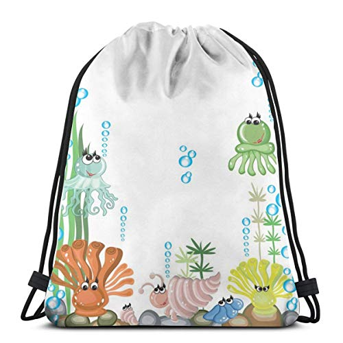 Nisdsgd Drawstring Shoulder Backpack Travel Daypack Gym Bag Sport Yoga, Aquarium with Seashell Octopus Stones and Bubbles Funny Cartoon Print,5 Liter Capacity,Adjustable.