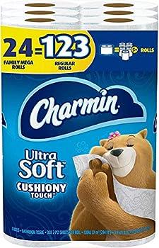 Charmin Ultra Soft Cushiony Touch Toilet Paper 24 Family Mega Rolls = 123 Regular Rolls