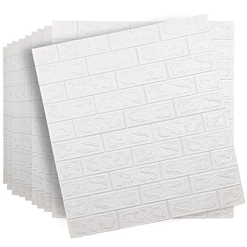 Spurtar 10Pcs Brick Wall Panels Peel and Stick SelfAdhesive 3D Foam Stone Textured White Faux Wallpaper Tiles for Living Bedroom TV Background Home Decor DIY – 5813 sqFeet amp 1pc Utility Knife