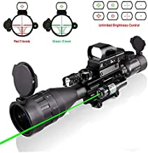 4-16x50AO Rifle Scope Combo Dual Illuminated with Green Laser sight 4 Holographic Reticle Red/Green Dot for Weaver/Rail Mount