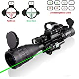 4-16x50 Rifle Scope Combo Dual Illuminated with Green Laser sight 4 Holographic Reticle Red/Green Dot for Weaver/Rail Mount