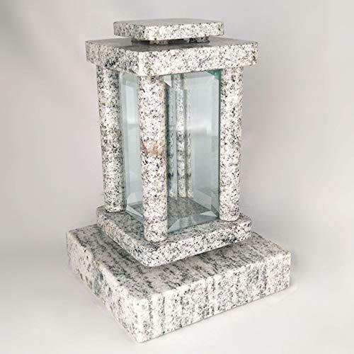 designgrab Lampe funéraire moderne avec socle en granit Viscont White, kit de décoration funéraire