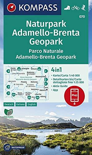 KV WK 070 NP Adamello-Brenta Geopark: 4in1 Wanderkarte 1:40000 mit Aktiv Guide und Detailkarten inklusive Karte zur offline Verwendung in der ... Skitouren. (KOMPASS-Wanderkarten, Band 70)