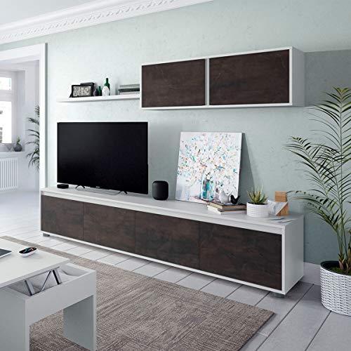Parete Attrezzata Soggiorno Moderna Mobile TV Pensile Mensola Sala Pranzo Salotto OSSIDO+BIANCO 200 X 41 X 43 Cm 0X6663A