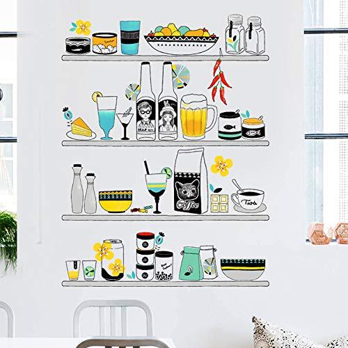 Kleine frische Küchendekorregale können geschrubbt werden Tapete selbstklebende Malerei wasserdichte Restaurantschrank Klimaanlage Aufkleber 60X90cm