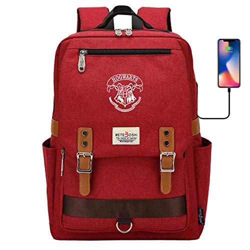 Hogwarts Badge School Bag Junior High School Student Backpack Multifunctional Riding Rucksack Large Red