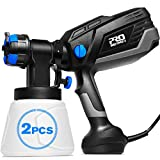 PROSTORMER Paint Sprayer, 1L/min 600W Hvlp Electric Paint Spray Gun with 3 Spraying Patterns, 4 Nozzle Sizes, 2Pcs 1000ml Detachable Containers, Easy to Spray and Clean for Home Painting
