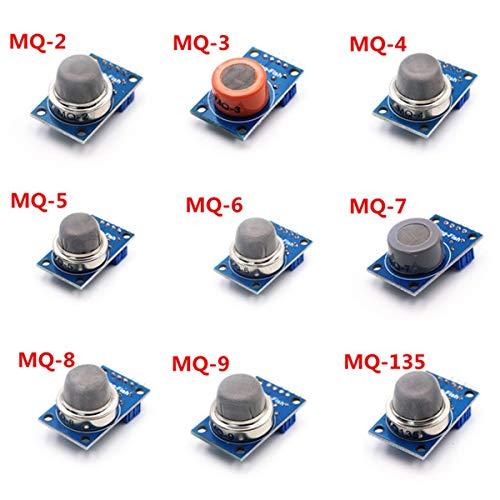Luxtech Módulos MQ Sensores Kit 9 MQ Series Sensores de Gas: MQ MQ MQ-2-3-4 MQ MQ-5-6 MQ MQ MQ-7-8 MQ-9 MQ-135