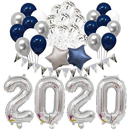 BHSTAR Abschluss 2020 Party Lieferungen 2020 Dekorationen Kit 32 Zoll Groß 2020 Ballon Marine Blau Silber und Weiß Luftballons Sets zum 2020 Abschluss Party Lieferungen Dekor