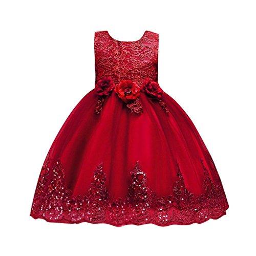 UOMOGO Abito Bambina Principessa Vestito da Cerimonia per la Damigella Bowknot Floreale Abiti per la Matrimonio Carnevale Natale Regalo (età: 24 Mesi, Rosso)