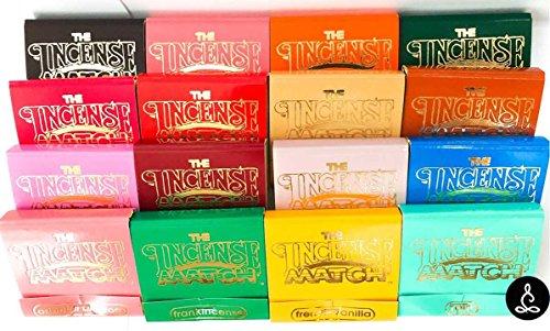 The Incense Match Original Scented Matches Mini Incense Stick - Set of 16 Unique Fragrances - Air Freshener, Odor Eliminator by Serene Treasures