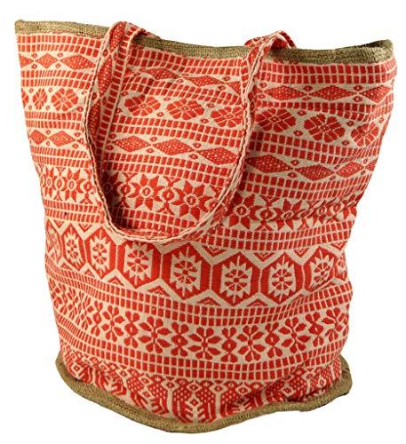 Guru-Shop Handgefertigte Boho Shopper Tragetasche, Strandtasche, Einkaufstasche - Orange, Herren/Damen, Baumwolle, Size:One Size, 40x45x30 cm, Bunter Stoffbeutel