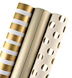 WRAPAHOLIC Wrapping Paper Roll - Gold Print for Birthday, Holiday, Wedding, Baby Shower Packing - 3 Rolls - 30 inch X 120 inch Per Roll